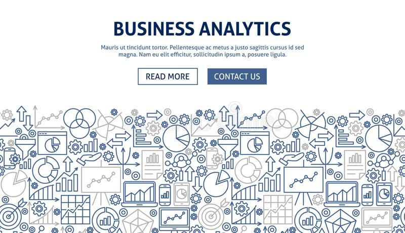 Business Analytics Banner Design. Vector Illustration of Line Web Concept vector illustration
