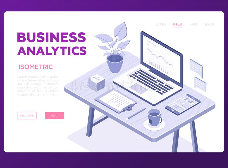 Business analytics banner - modern vector isometric illustration. With copy space for text. Composition with office workplace, desk, laptop, cup of tea vector illustration