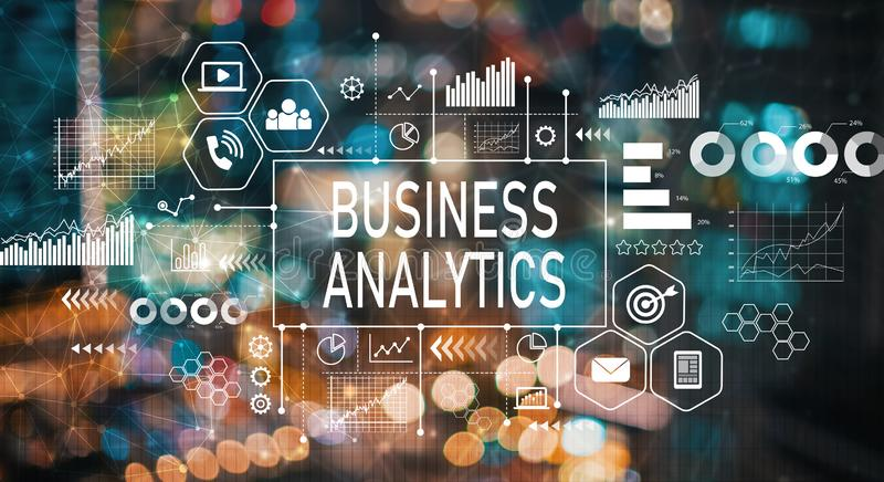 Business analytics with blurred city lights. Business analytics with blurred city abstract lights background vector illustration