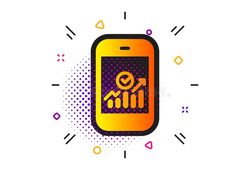 Smartphone Audit or Statistics icon. Vector. Business Analytics with charts symbol. Halftone circles pattern. Smartphone Audit or Statistics icon. Classic flat vector illustration