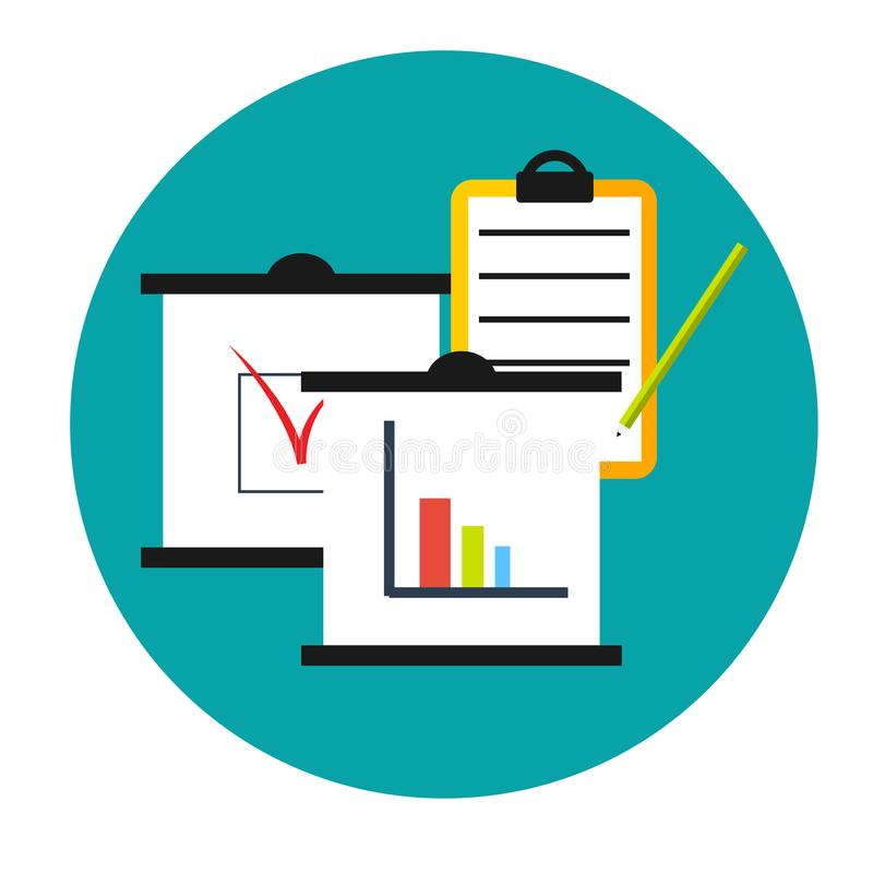 Business analytics icon. Clipboards with graphics diagram and data. Business analytics. Clipboards with graphics diagram and data. Concept icon stock illustration