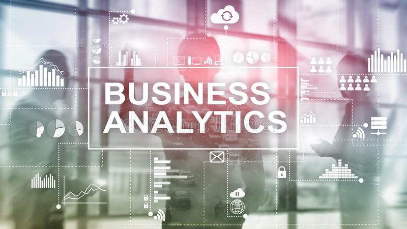 Business analytics concept on double exposure background. stock image
