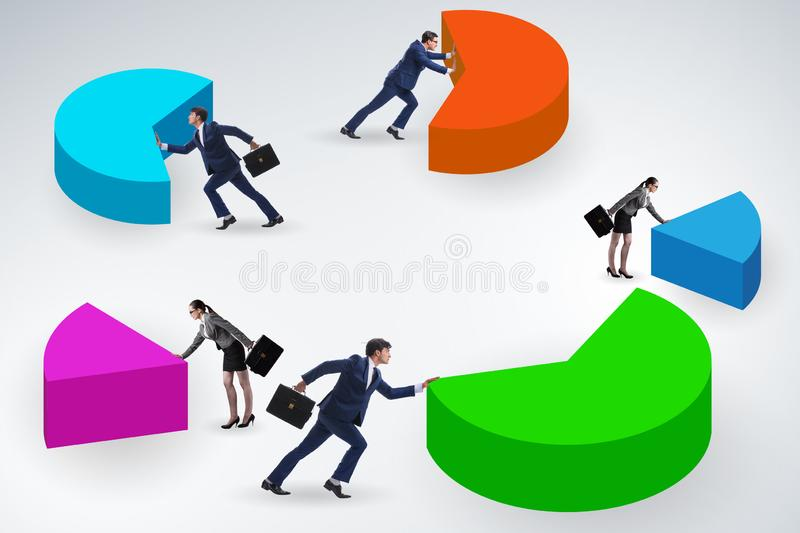 Business analytics concept with pie chart stock photography