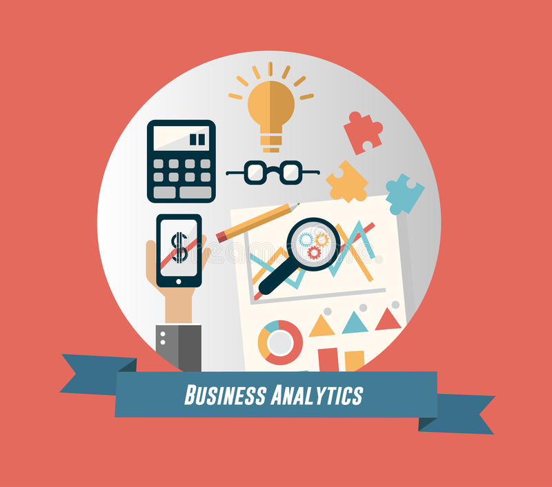 Business analytics concept vector with banner and text. Digitally generated Business analytics concept vector with banner and text stock illustration