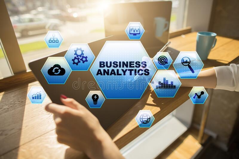 Business analytics concept on the virtual screen. stock photo