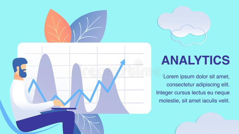 Business Analytics Flat Banner Vector Template. Analyst working with Laptop Cartoon Character. Income Growth Forecast. Graph with Market Statistics. Corporate vector illustration