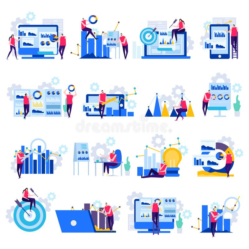 Business Analytics Flat Icons. Business analytics set of flat icons with human characters electronic devices and charts isolated vector illustration vector illustration