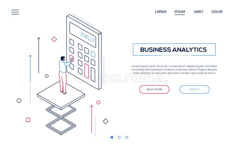 Business analytics - line design style isometric web banner. On white background with copy space for text. Website header with businessman using a calculator vector illustration