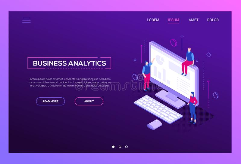 Business analytics - modern isometric vector web banner. On purple background with copy space for text. A website header with male, female colleagues at the stock illustration