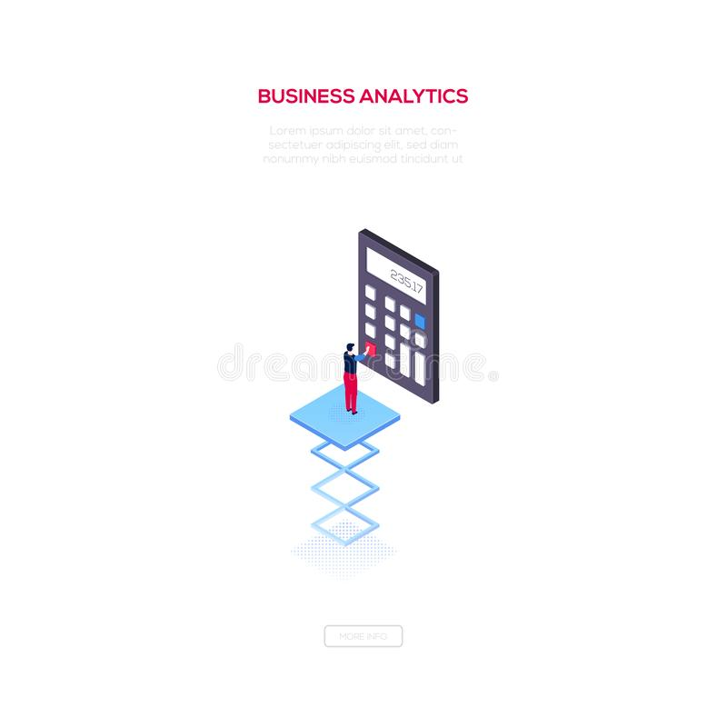Business analytics - modern isometric vector web banner. On white background with copy space for text. High quality composition with businessman using a royalty free illustration
