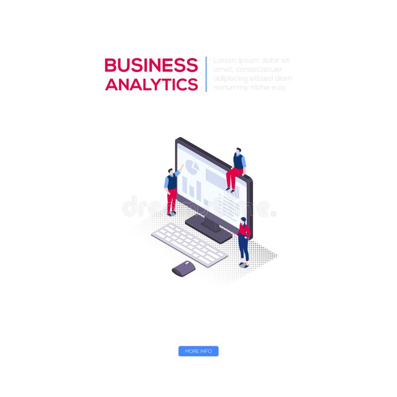 Business analytics - modern isometric vector web banner. On white background with copy space for text. An illustration with male, female colleagues at the royalty free illustration