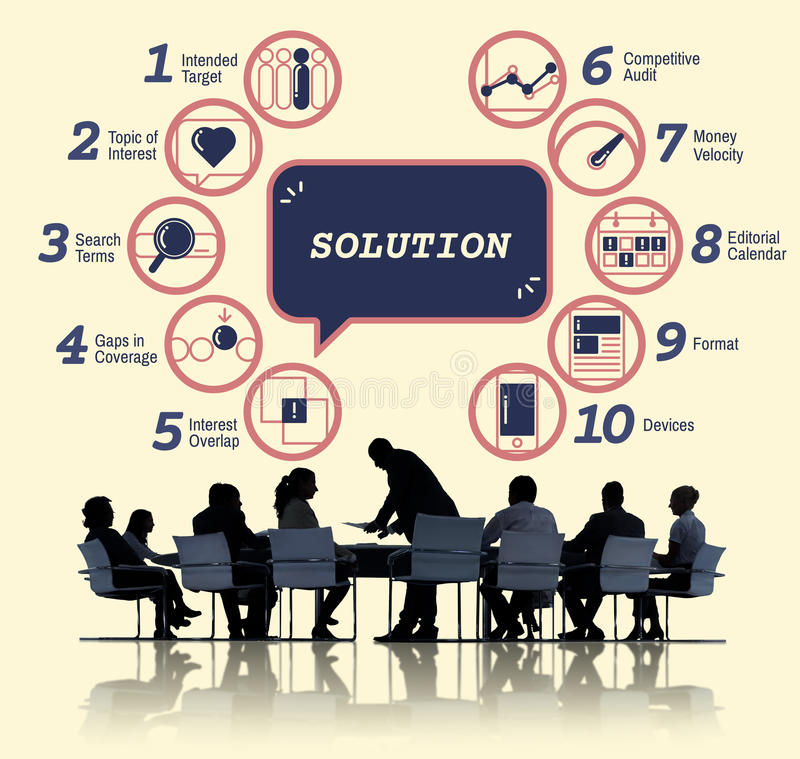 Business Analytics Strategy Methods Tactics Graphic Concept. Business People Discuss Analytics Strategy Methods Tactics stock image