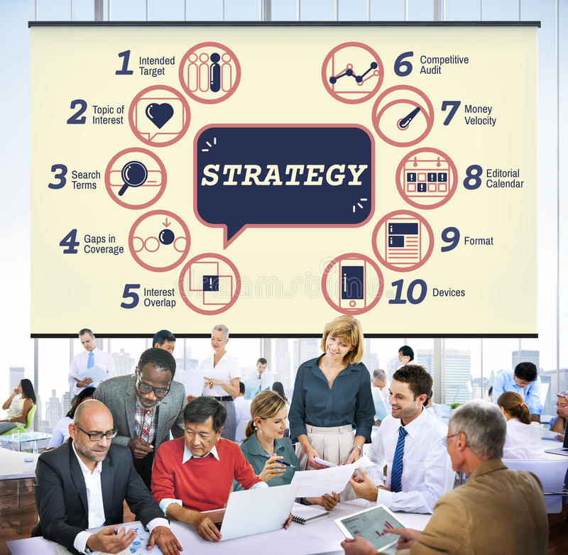Business Analytics Strategy Methods Tactics Graphic Concept. Business team are planning strategy stock photography
