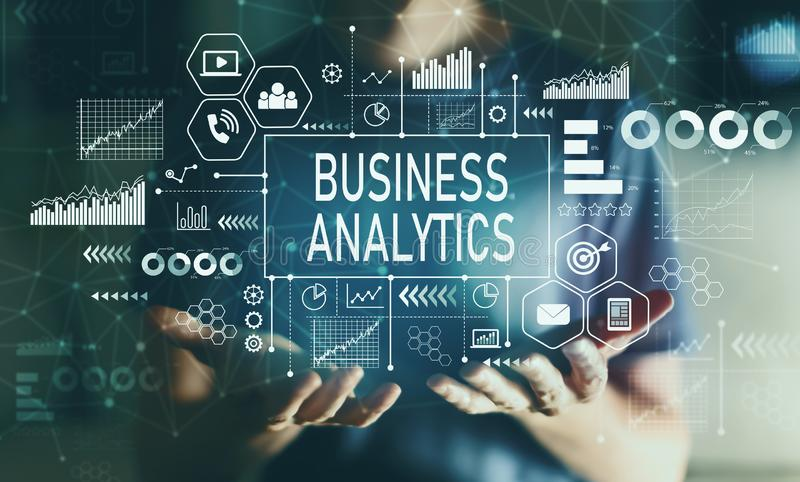 Business analytics with young man stock images