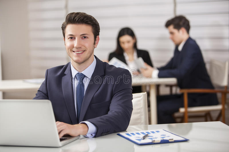Business Analyzing Bright Office stock photography