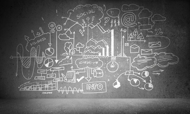 Business analyzing and planning. Hand drawn business-analytical information on grey concrete wall stock illustration