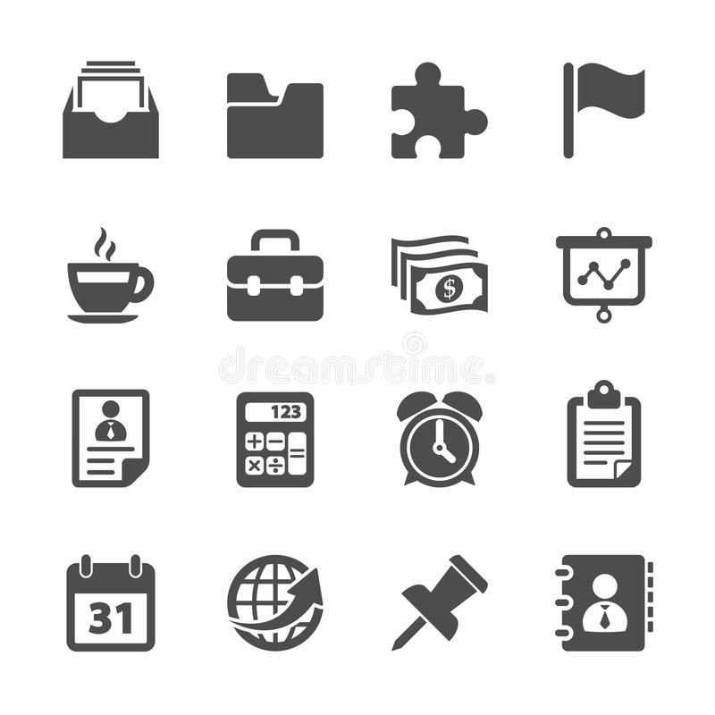 Free Business And Office Work Icon Set, Vector Eps10 Royalty Free Stock Photography - 45721357
