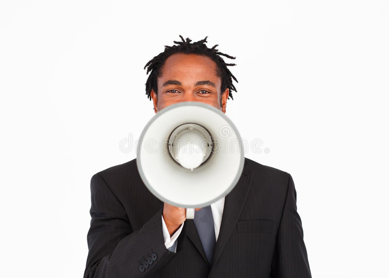 Download Business Announcement Through Megaphone Stock Photo - Image of american, face: 10341906