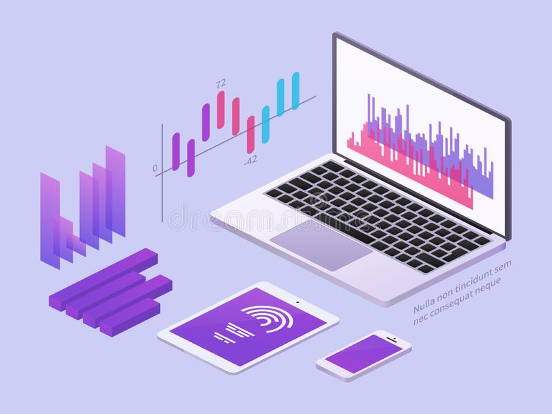 Business app isometric concept. Vector 3d laptop and smartphone with data charts and statistics diagrams stock illustration