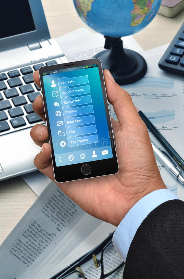 Business application on smart phone 05 royalty free stock photo