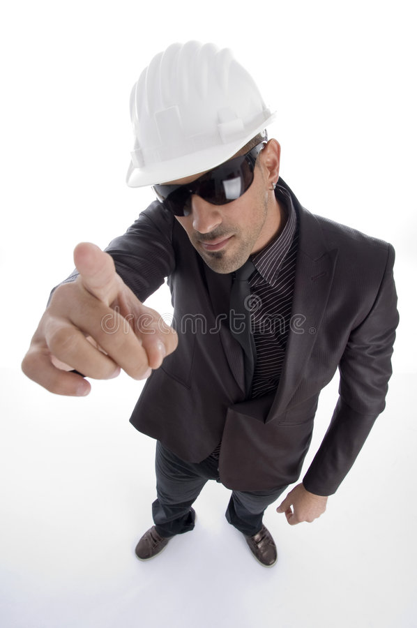 business architect wearing helmet stock photo