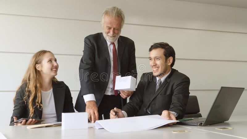 The business architects people meeting and suggest the blueprint dra royalty free stock images