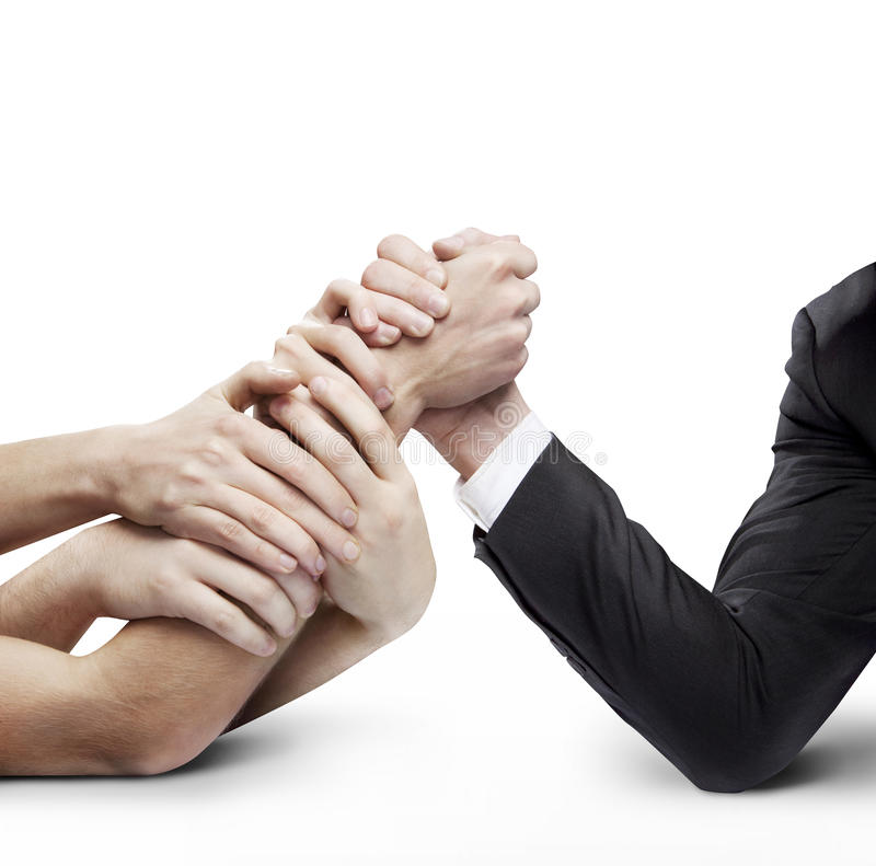 Business arm wrestling royalty free stock images