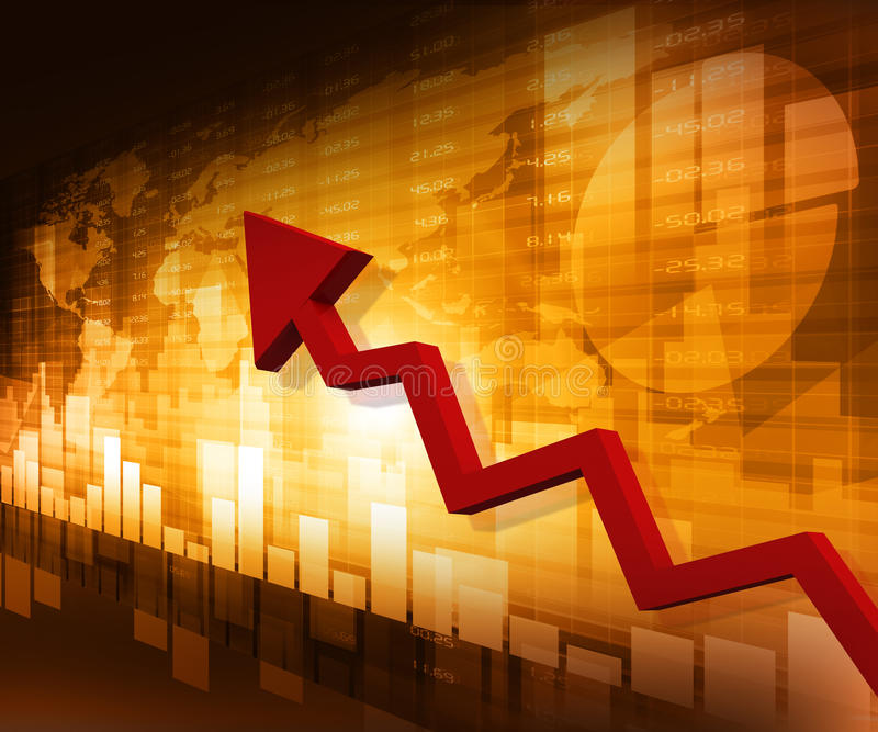 Business arrow graph. With arrow showing profits stock illustration