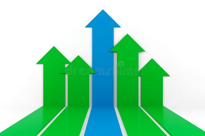 Business arrow graph on white background, 3D Rendering royalty free illustration