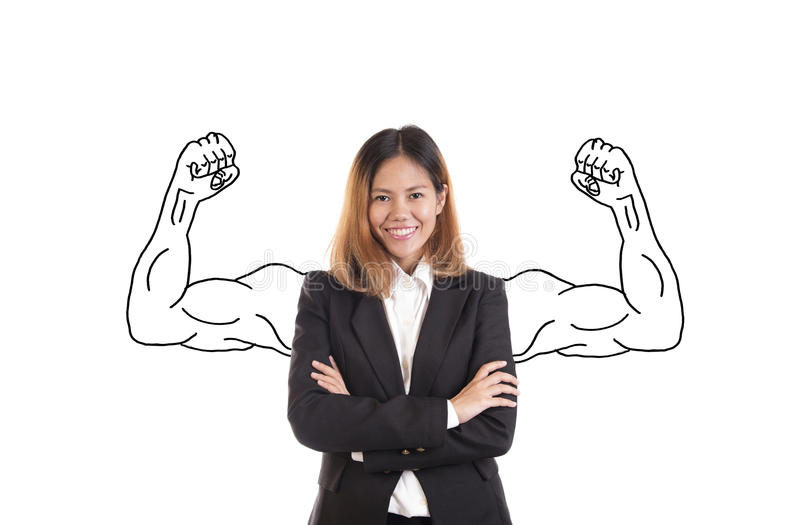 Business asian woman strong portrait isolated on white stock photography