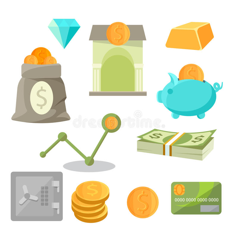 Business asset money investment icons set diamonds, gold, piggy, safe. Asset money investment icons set isolated on white. Business icons of diamonds, bar of royalty free illustration