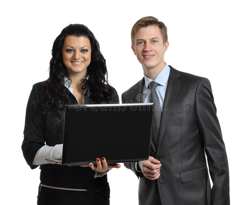Business associates with laptop royalty free stock photos