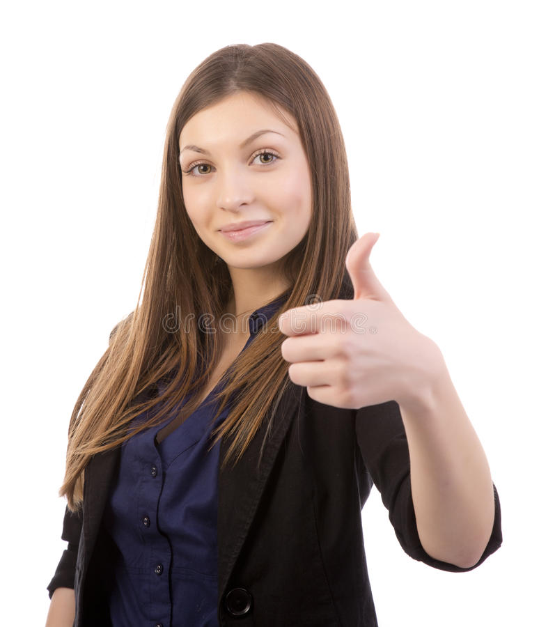 Business attitude. Beautiful business woman shows thumbs up isolated on white background royalty free stock photography
