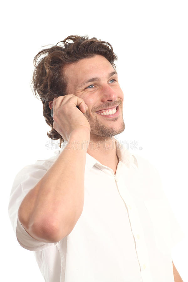 Business attractive young man with a phone royalty free stock image