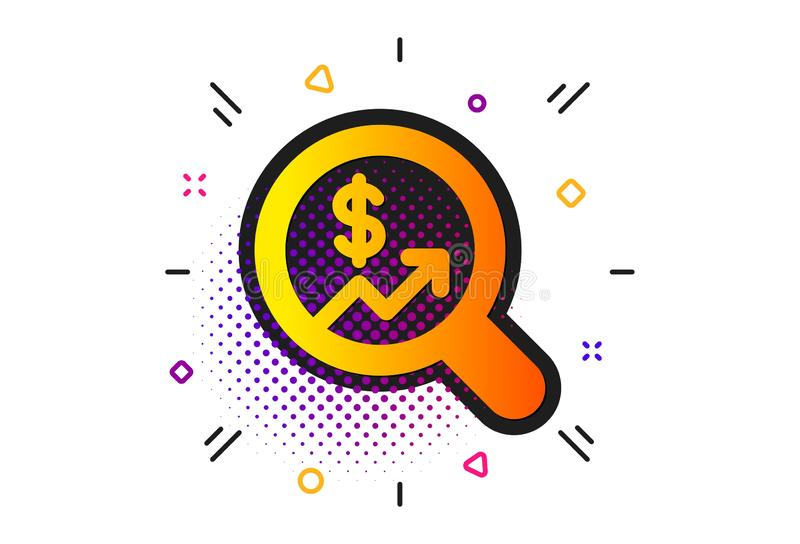 Business Audit or Statistics icon. Vector. Analytics with charts symbol. Halftone circles pattern. Business Audit or Statistics icon. Search Magnifier sign royalty free illustration