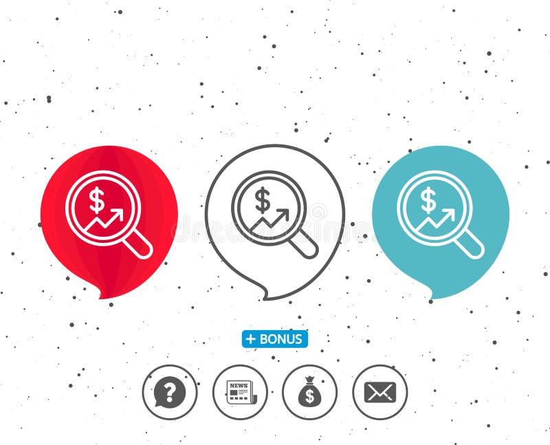 Business Audit or Statistics line icon. Speech bubbles with symbol. Business Audit or Statistics line icon. Analytics with charts symbol. Search Magnifier sign stock illustration