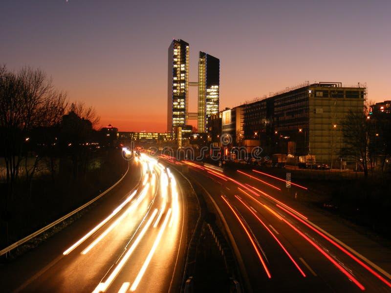 Business - Autobahn/Highway - Sunset - Architektur. München Autobahnbrücke - Gebäude - Munich - Highway - Sunset - Sonnenuntergang royalty free stock photo