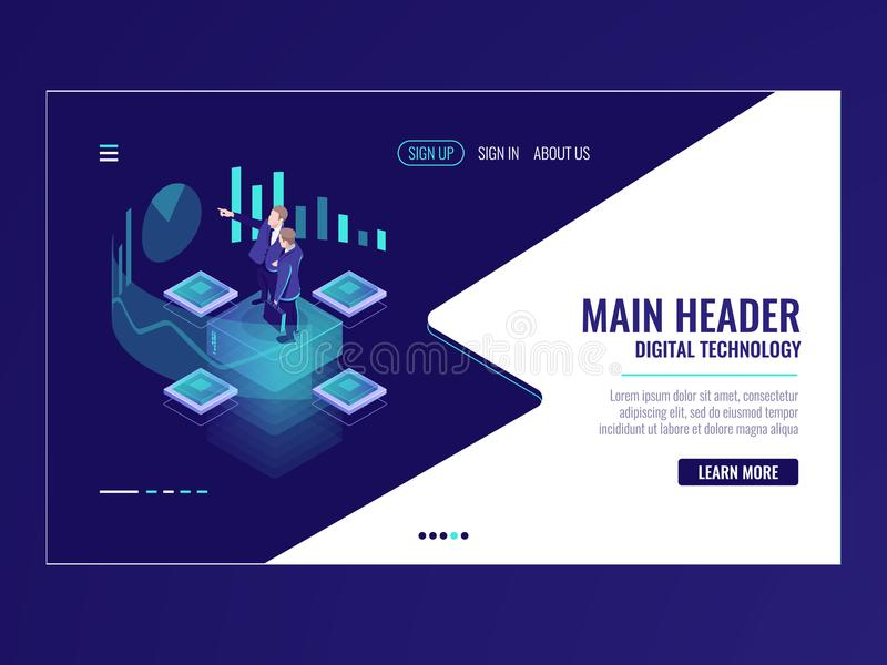 Business automated analytic system isometric icon, businessman hold a meeting, strategy formulation, chart analysis and stock illustration