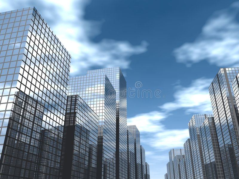 Business ave. 3d render of a modern city vector illustration