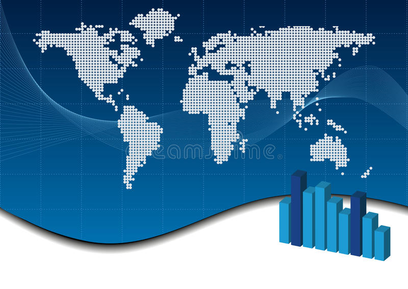 Business background. Abstract blue business background with world map and chart royalty free illustration