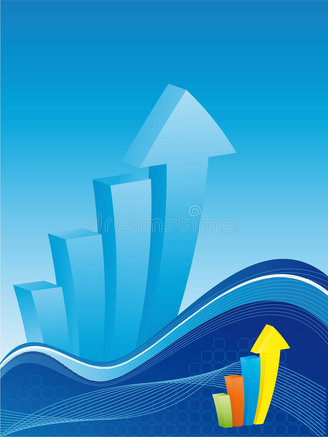 Business Background - Bar Chart With Waves Stock Photos