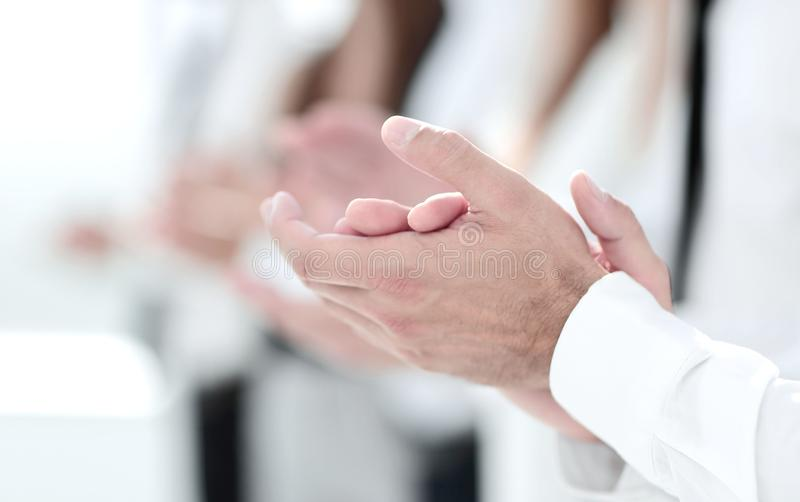 Business background.business colleagues standing ovation. Photo with copy space stock photo