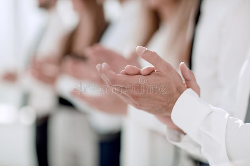 Business background.business colleagues standing ovation. Photo with copy space stock image