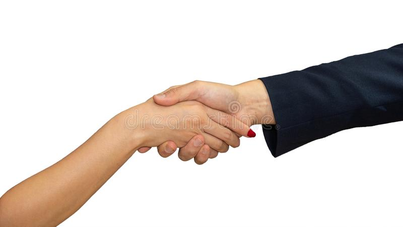 Business background of businessman hand and businesswoman hand having handshaking together, isolated on white background stock photos