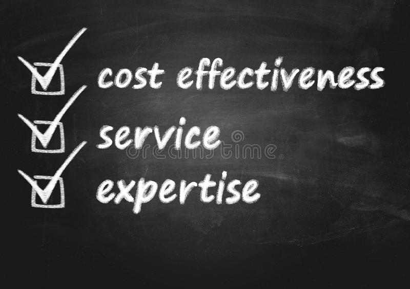 Business background concept for cost effectiveness, service and expertise. On plain blackboard stock photography