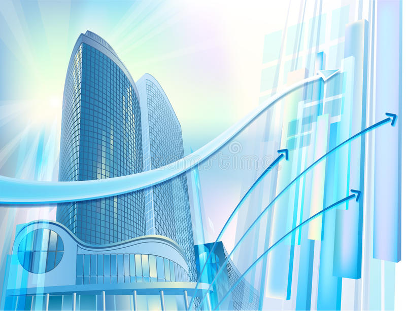 Business background with modern city buildings vector illustration