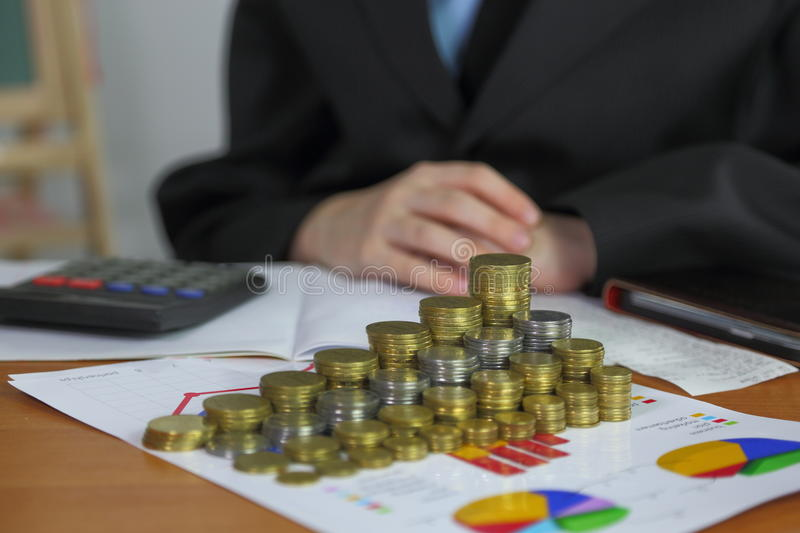 Business background. Money and piggy bank royalty free stock image