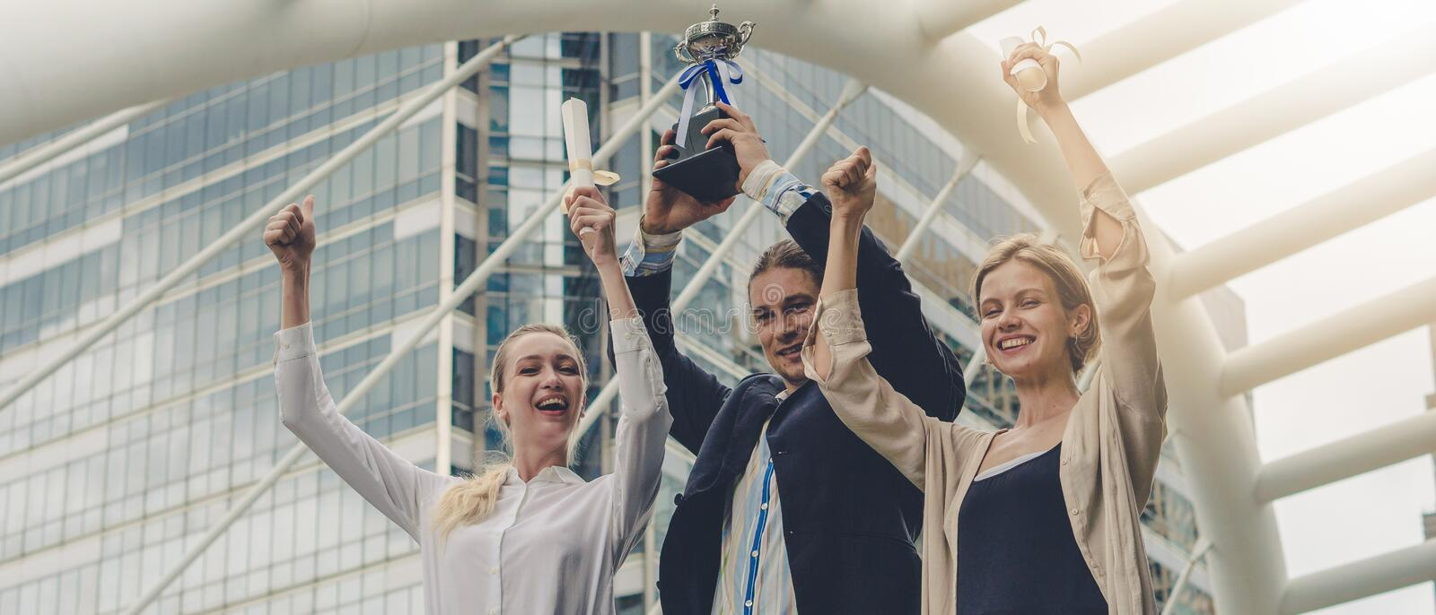 Business background of business people in business wear are cheerful for being winner in business competition contest with hand royalty free stock photos
