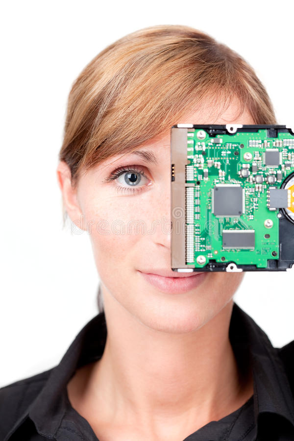 Business backup security. Woman with secure backup hard disk storage as concept for business security system stock photo