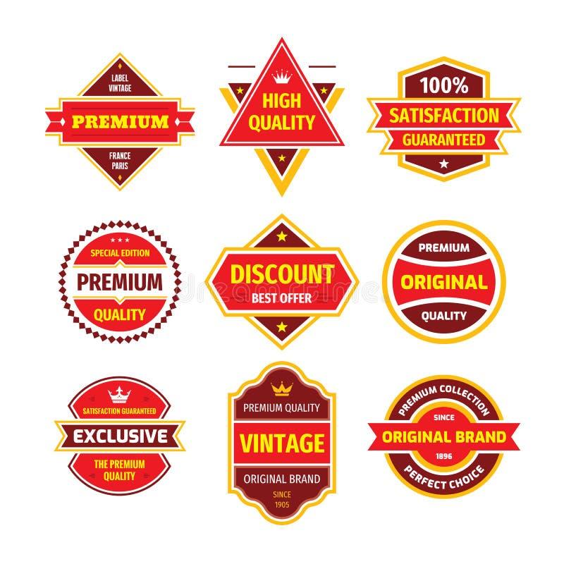 Business badge vector set in retro design style. Abstract logo. Premium quality. Satisfaction guaranteed. Original brand. vector illustration